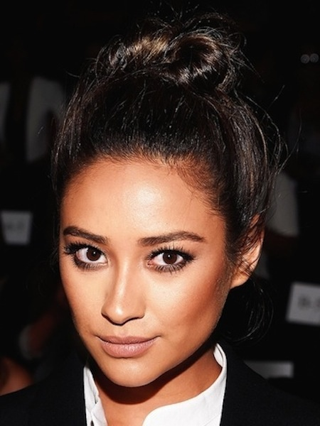 Shay Mitchell's Long Brunette Hair in a Twisted Topknot Bun