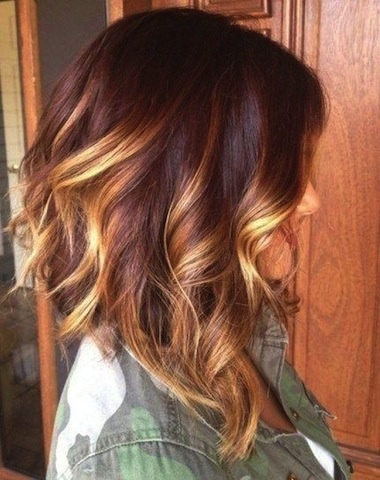 Medium Length Ombre Haircut With Bouncy Curls