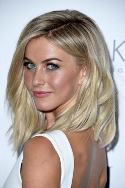 Julianne Hough's Medium Length Blonde Hair with Side Part