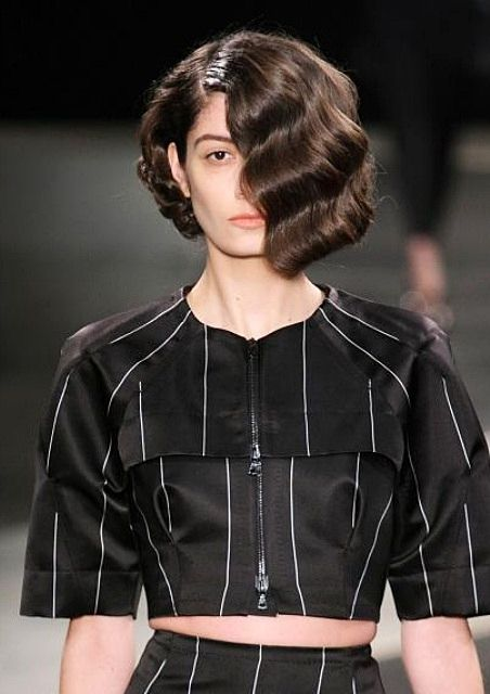Edgy Retro Bob Hairstyle at Alexandre Herchcovitch Spring 2014 New York Fashion Week