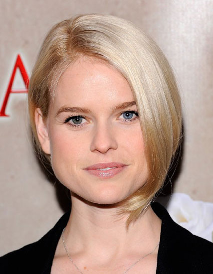 Alice Eve's Posh Low Ponytail with Side Bangs