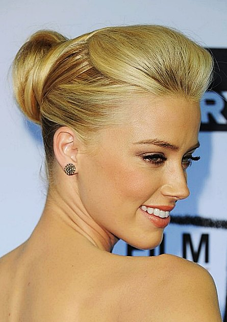 Amber Heard's Elegant High Chignon Hairstyle For Weddings