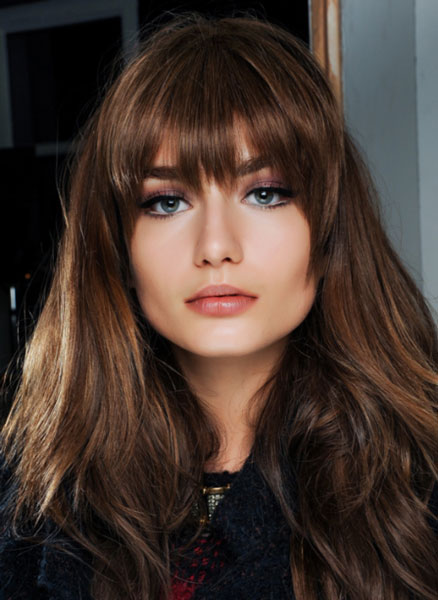 Andreea Diaconu's Sexy Big Hair with Razored Cut Bangs