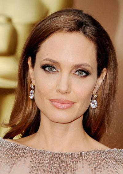 Angelina Jolie's Elegant Long Straight Hairstyle at the 2014 Oscars