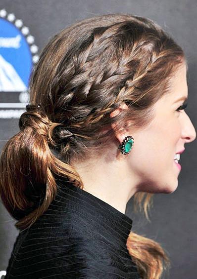 Anna Kendrick S Half Braided Ponytail Hairstyle Prom