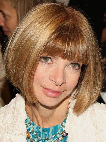 Anna Wintour's Curved Chin-Length Bob Hairstyle with Blunt Bangs