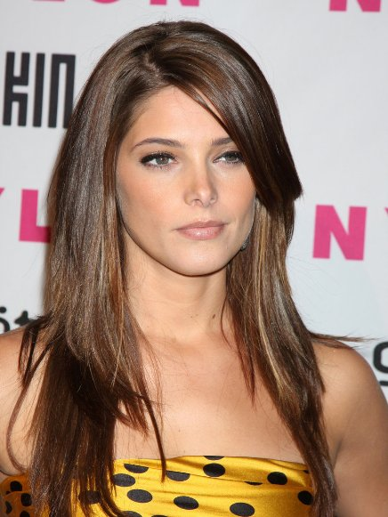 Ashley Greene's Long, Sleek, Straight, Brown Hair Is Cut In Layers.