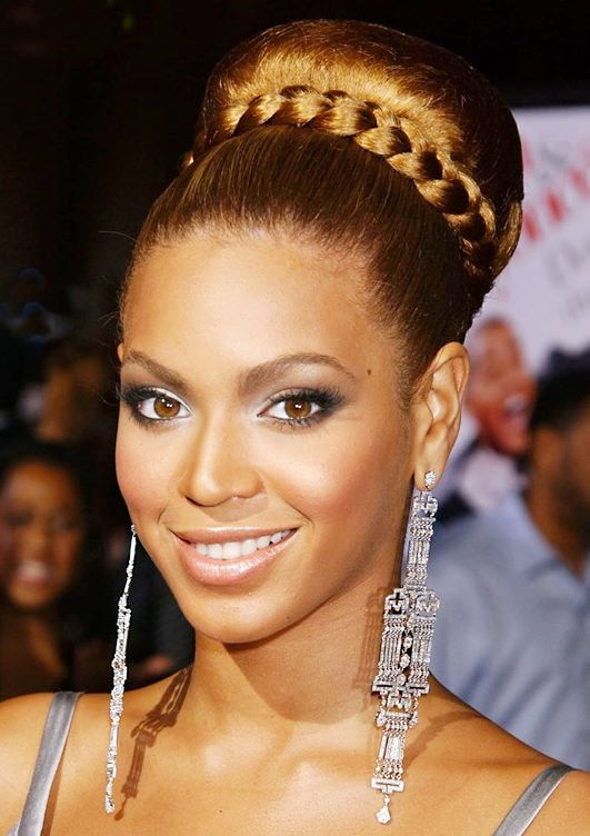 Beyonce Elegant High Bun With Wrapped Braid Hairstyle