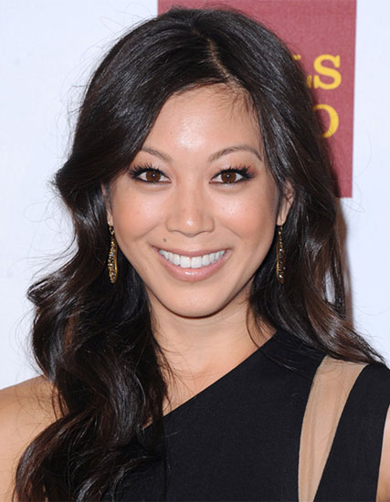 Brittany Ishibashi's Glamorous Long Wavy Hairstyle with Uneven Parting