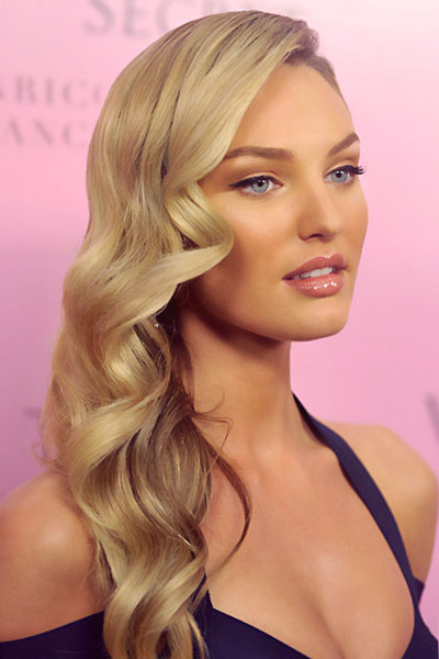 Groovy Candice Swanepoel39S Side Swept Curly Hairstyle Awards Formal Short Hairstyles For Black Women Fulllsitofus