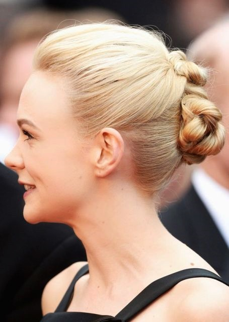Carey Mulligan's Unique Double Twisted Updo for Weddings
