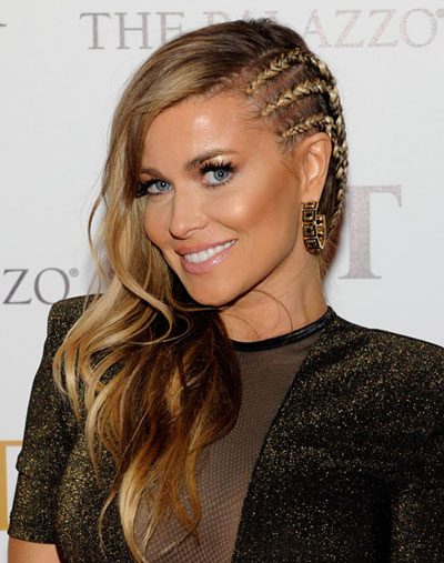 Carmen Electra's Fierce Faux Side-Shaved Long Wavy Hairstyle
