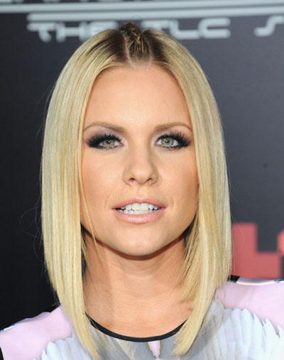 Carrie Keagan's Edgy Sleek Asymmetrical Hairstyle with Thin Braided Center