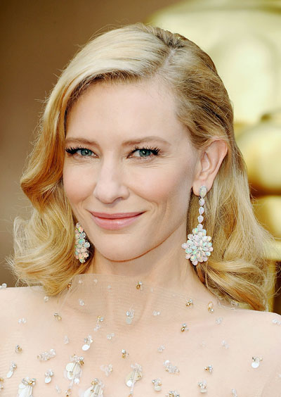 Cate Blanchett's Vintage Medium Curly Hairstyle at the 2014 Oscars