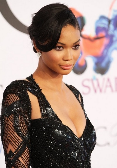 Chanel Iman's Side Parted Chignon At CFDA 2014