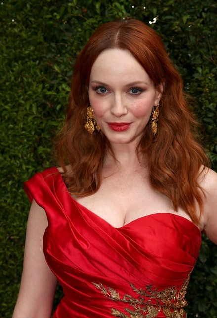 Christina Hendricks' Middle Parted Wavy Style At Emmy Awards 2014