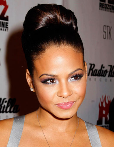 Phenomenal Christina Milian39S Colossal High Bun Awards Evening Formal Hairstyles For Women Draintrainus