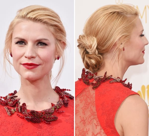 Claire Danes' Braided Chignon At Emmy Awards 2014