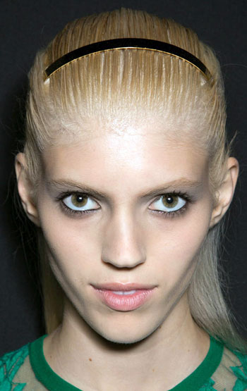 Sleek Long Hairstyle with Headband at the Elie Saab 2014 Spring Show