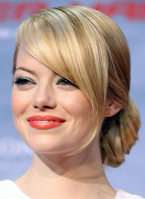 Emma Stone Side Bun Hairstyle Prom 2014