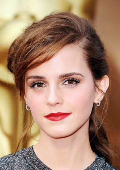 Emma Watson's Glam Rock Messy Ponytail at the 2014 Oscars