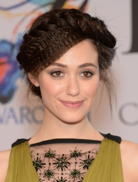 Emmy Rossum's Crimped Updo At CFDA Fashion Awards 2014