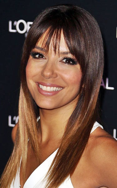 Eva Longoria's Gorgeous Long Straight Hairstyle with Blunt Bangs
