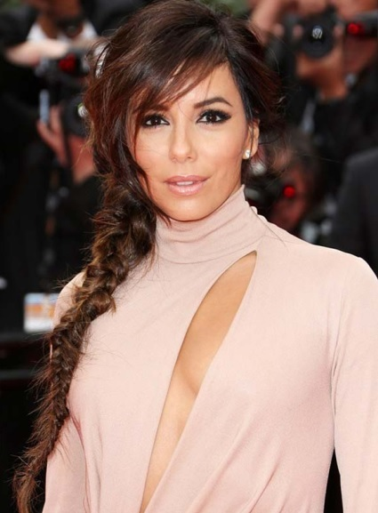 Eva Longoria's Loose Side Fishtail Braid At Cannes 2014