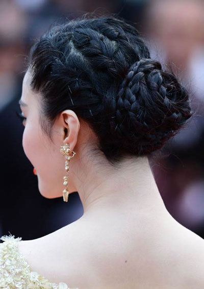 Fan Bing Bing's Braided Bun Hairstyle at the 2013 Cannes Film Festival