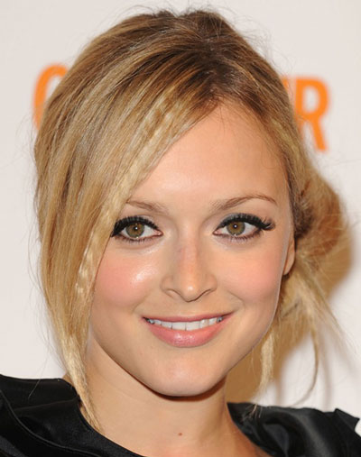 Fearne Cotton's Stylish Side Bun with Crimped Bangs