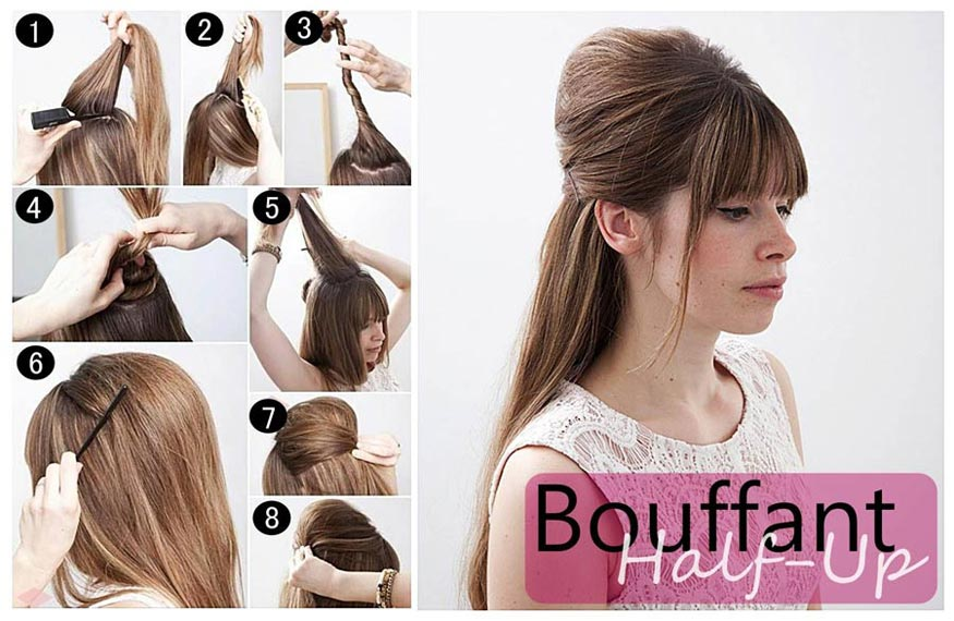 Half Up Bouffant Retro Hairstyle Tutorial