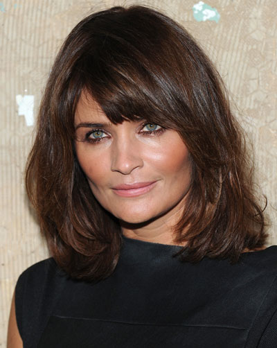 Helena Christensen's Gorgeous Shoulder Length Layered Hairstyle