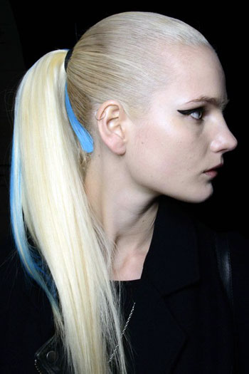 Streaked Sleek Ponytail at Hervé Léger Fall/Winter 2014 Fashion Show