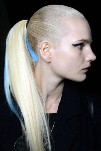 Streaked Sleek Ponytail at Hervé Léger Fall/Winter 2014 Fashion Show