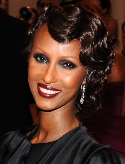 Iman Bowie's Side Parted Finger Wave Hairstyle