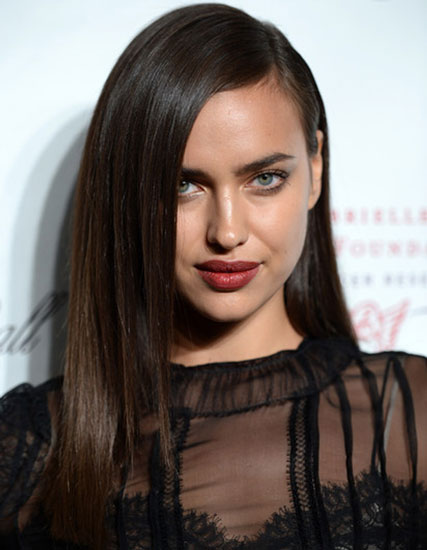 Irina Shayk's Sexy Long Straight Hairstyle with Deep Side Part