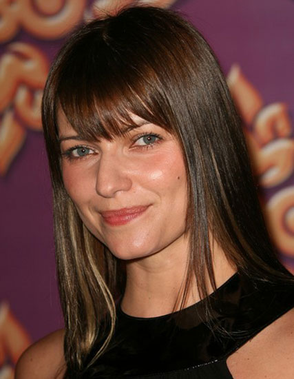 Ivana Milicevic's Posh Sleek Medium Hairstyle with Blunt Bangs