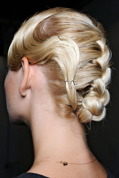 Romatic Braided Updo with Marcel Waves