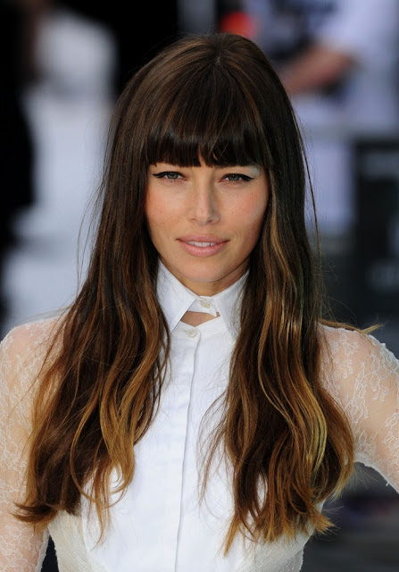 Jessica Biel's Long Wavy Ombre Hair With Blunt Bangs