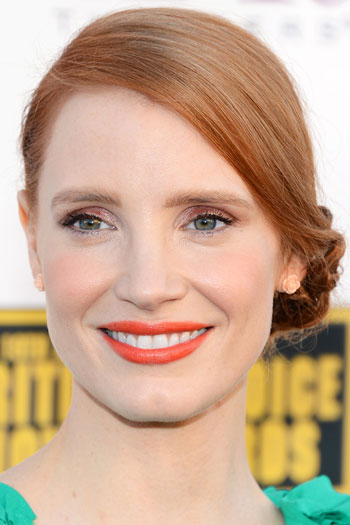 Jessica Chastain's Braided Side Bun Hairstyle at the 2014 Critics' Choice Awards