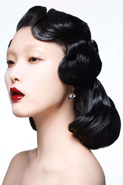 Pleasant Ji Hye Park Vintage Pin Curls Hairstyle Awards Formal Prom Short Hairstyles For Black Women Fulllsitofus