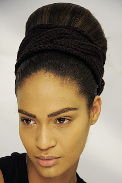 Joan Smalls' Vintage Braided Beehive Hairstyle