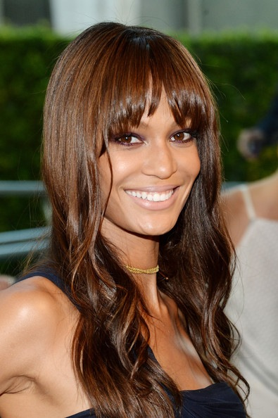 Joan Smalls' Wavy Style With Choppy Bangs At CFDA 2014