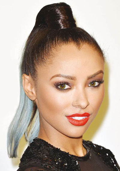 Kat Graham's Punk High Ponytail with Dip-Dyed Ends