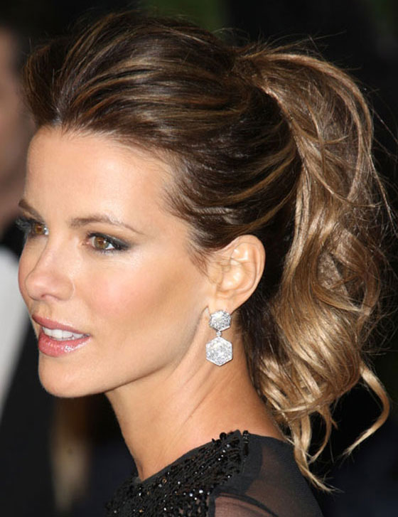 Kate Beckinsale Long Wavy Ponytail Prom 2014 Hairstyle