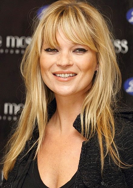 Kate Moss Messy Long Soft Layered Hairstyle With Fringes