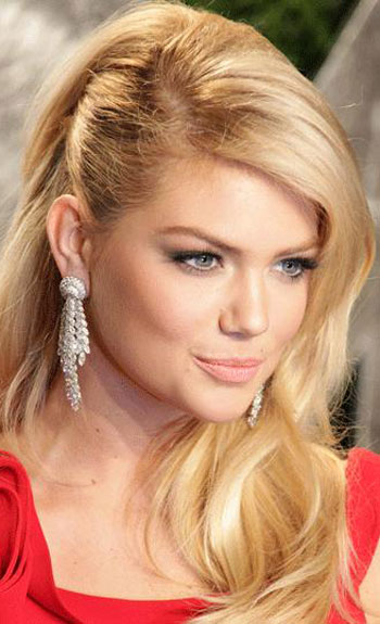 Kate Upton Side Swept Long Wavy Prom Hairstyles 2014