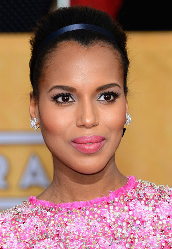 Kerry Washington's Sophisticated Bouffant Updo with Headband at the 2014 SAG Awards