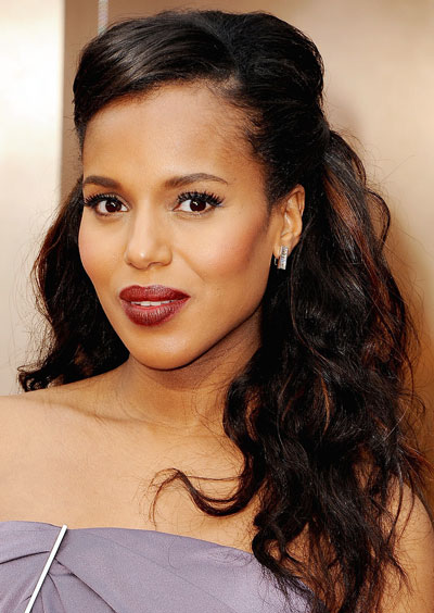 Kerry Washington's Unkempt Curly Half Up Long Hairstyle at the 2014 Oscars