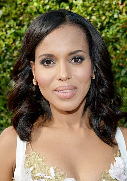 Kerry Washington's Shoulder Length Curly Hairstyle at the 2013 Primetime Emmy Awards